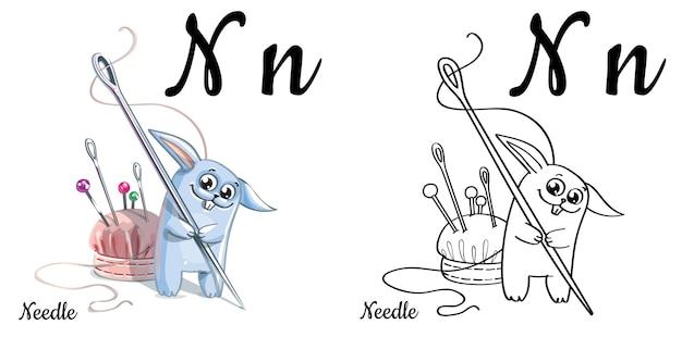 Alfabeto lettera n per l'educazione dei bambini con coniglietto divertente cartone animato e ago. isolato. imparare a leggere. pagina da colorare.