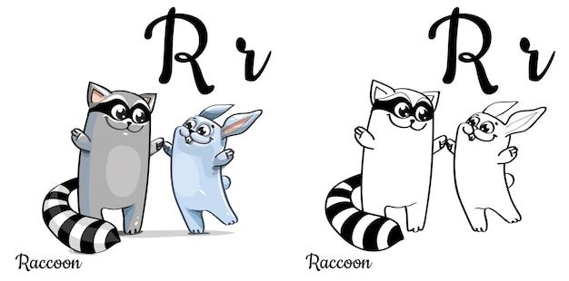 Lettera r dell'alfabeto per l'educazione dei bambini con procione e coniglio divertenti cartoon. isolato. imparare a leggere. pagina da colorare.