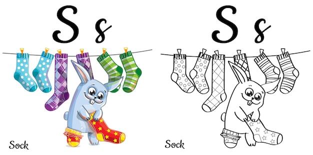 Lettera s dell'alfabeto per l'educazione dei bambini con coniglietto e calzini divertenti del fumetto. isolato. imparare a leggere. pagina da colorare.