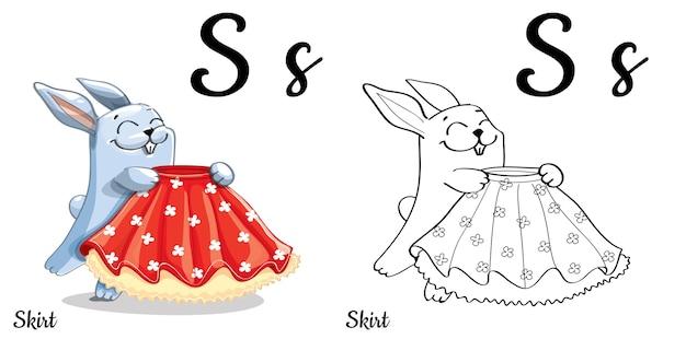 Alfabeto lettera s per l'educazione dei bambini con coniglietto divertente cartone animato con gonna. isolato. imparare a leggere. pagina da colorare.