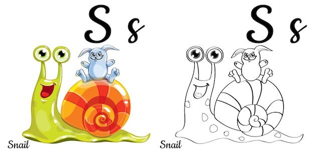 Lettera s dell'alfabeto per l'educazione dei bambini con lumaca e coniglio divertenti del fumetto. isolato. imparare a leggere. pagina da colorare.