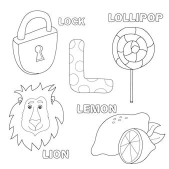 Lettera dell'alfabeto con lettere dell'alfabeto - l. immagini della lettera - libro da colorare per bambini - leone, lucchetto, lecca-lecca, limone