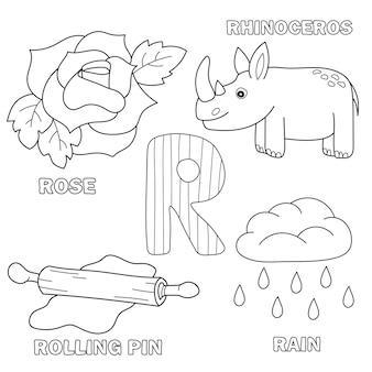 Lettera dell'alfabeto con lettere dell'alfabeto - r. immagini della lettera - libro da colorare per bambini - rosa, mattarello, pioggia, rinoceronte