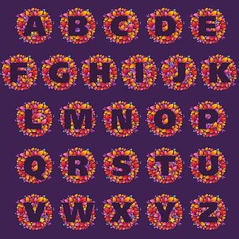 Loghi di lettere dell'alfabeto in un cerchio di fiamme. stile del carattere di fuoco