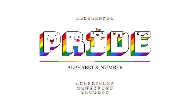 Lettere e numeri dell'alfabeto con i colori dell'arcobaleno e simpatiche emoticon kawaii con carattere lgbt