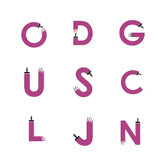 Lettere dell'alfabeto impostato con elemento di design del pennello