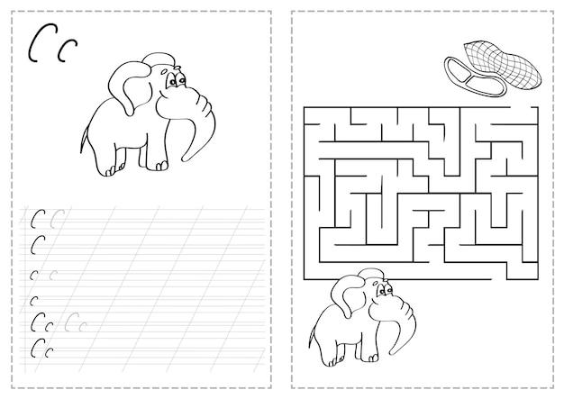 Foglio di lavoro per l'analisi delle lettere dell'alfabeto con lettere dell'alfabeto russo. pratica di scrittura di base per i bambini dell'asilo - elefante