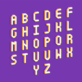Lettere dell'alfabeto con effetto isometrico 3d. illustrazione vettoriale.