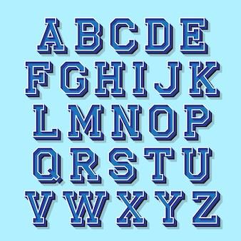 Lettere dell'alfabeto con effetto isometrico 3d