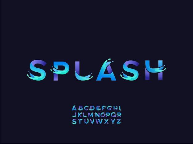 Loghi alfabetici con spruzzi d'acqua in stile colore slpash vettore premium