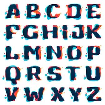Loghi di alfabeto con schizzi ad acquerelli. stile di sovrapposizione di colore.