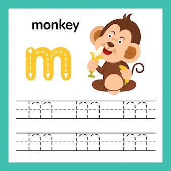 Esercizio di alfabeto m con l'illustrazione di vocabolario del fumetto, vettore