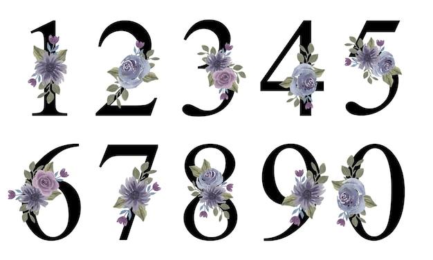 Numeri dell'alfabeto design iniziale con bouquet di fiori viola acquerello per decorare l'invito