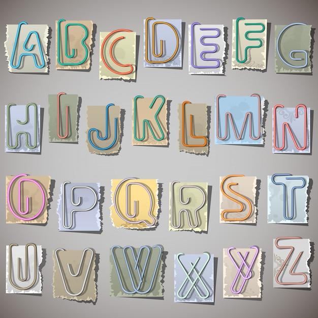 Alfabeto su carta vecchia