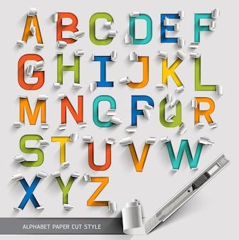 Alfabeto carta tagliata stile carattere colorato.