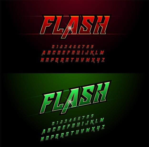 Alfabeto rosso e verde metallico e disegni di effetto