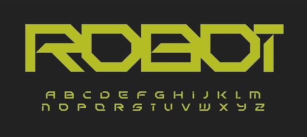 Alfabeto in carattere futuristico geometrico in stile tecnologia robotica per un design moderno dell'innovazione