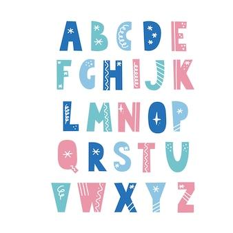 Alfabeto in stile scandinavo con elementi natalizi, fiocco di neve, stella, linea. carattere di vacanze di natale. lettera di colore.