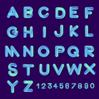 Alfabeto imposta colori sfumati stile carattere bolla. illustrare.