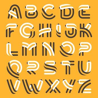 Insieme di alfabeto formato da matita. carattere vettoriale per identità artistica, titoli scolastici, poster educativi ecc.