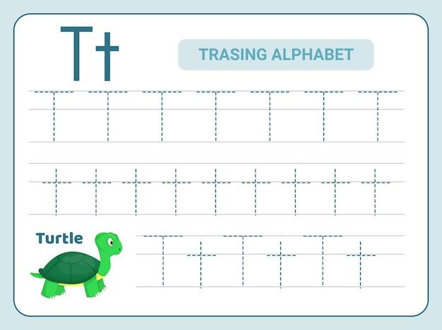 Pratica di tracciamento alfabetico per foglio di lavoro lettera t.