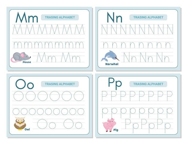Pratica di tracciamento alfabetico lettera m, n, n, o. foglio di lavoro per la pratica di tracciamento. pagina di attività di apprendimento dell'alfabeto. modello stampabile. foglio di lavoro per la pratica della traccia in maiuscolo minuscolo. imparare la grafia inglese