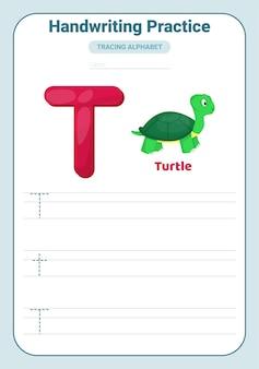 Pratica di tracciamento alfabetico lettera t. foglio di lavoro pratica per tracciare. pagina di attività di apprendimento dell'alfabeto.