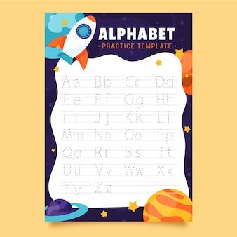 Modello di tracciamento di alfabeto con nave a razzo