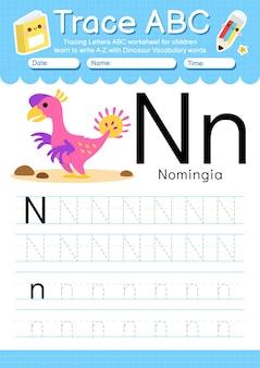 Foglio di lavoro per tracciare l'alfabeto con la lettera n del vocabolario dei dinosauri