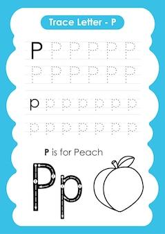 Foglio di lavoro per tracciare l'alfabeto con vocabolario di frutta e verdura
