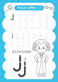 Foglio di lavoro per tracciare l'alfabeto con il vocabolario delle professioni del giudice della lettera j.