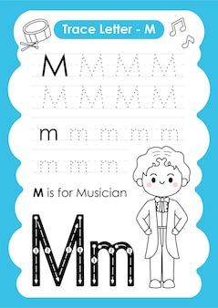 Foglio di lavoro per tracciare l'alfabeto con il vocabolario dell'occupazione di letter m musician