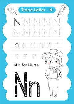 Foglio di lavoro di tracciamento alfabetico con vocabolario professionale di letter n nurse