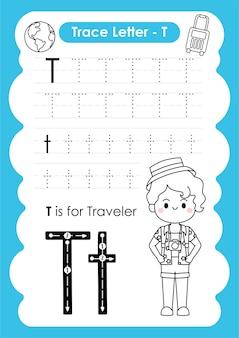 Foglio di lavoro per tracciare l'alfabeto con il vocabolario dell'occupazione di letter t traveller