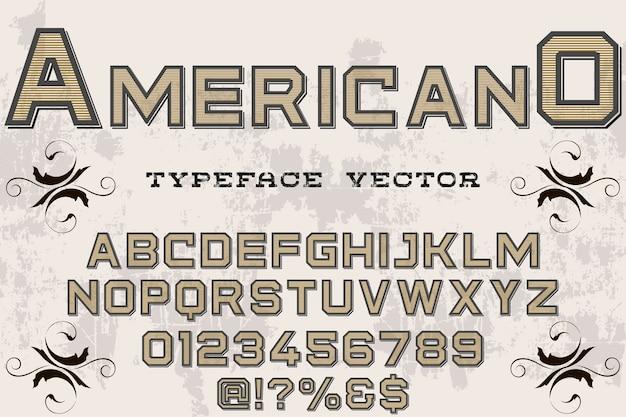 Alfabeto carattere tipografico etichetta design americano