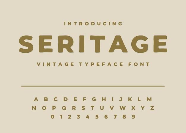 Vettore di disegno di carattere tipografico vintage alfabeto