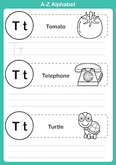 Esercizio di alfabeto az con vocabolario cartoon per libro da colorare