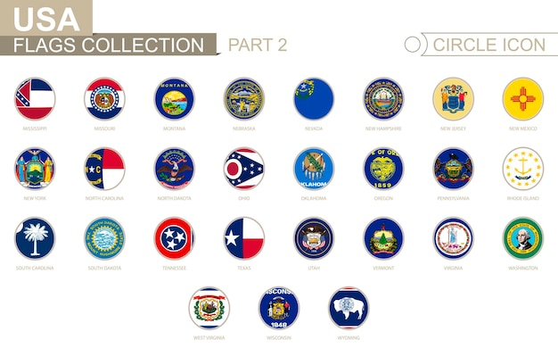Bandiere di cerchio in ordine alfabetico degli stati uniti. dal mississippi al wyoming. set di bandiere rotonde. illustrazione di vettore.