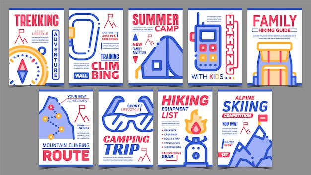 Set di manifesti pubblicitari creativi di alpinismo