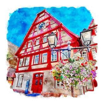 Altensteig germania illustrazione disegnata a mano di schizzo ad acquerello