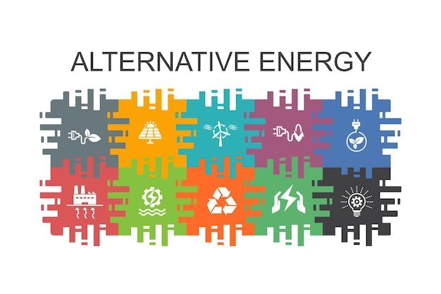 Modello di cartone animato di energia alternativa con elementi piatti. contiene icone come energia solare, energia eolica, energia geotermica, riciclaggio