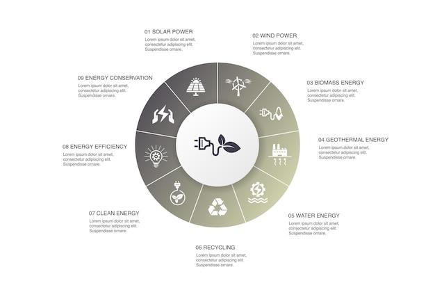 Energia alternativa infografica 10 passi cerchio design.energia solare, energia eolica, energia geotermica, riciclaggio semplici icone