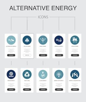 Energia alternativa infografica 10 passaggi di progettazione dell'interfaccia utente. energia solare, energia eolica, energia geotermica, icone semplici di riciclaggio