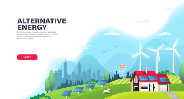 Modello di pagina di destinazione di energia alternativa con pannelli solari e turbine eoliche