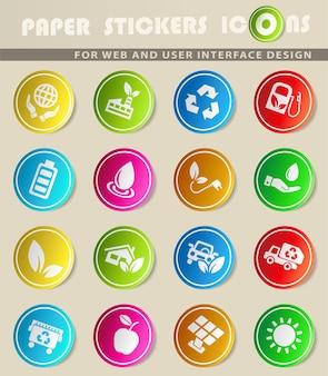 Icone vettoriali di energia alternativa su adesivi di carta colorata