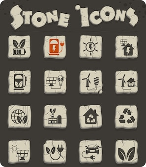 Icone vettoriali di energia alternativa su blocchi di pietra nell'età della pietra per il web e la progettazione dell'interfaccia utente