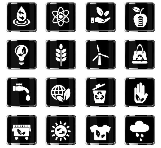 Icone web di energia alternativa per la progettazione dell'interfaccia utente