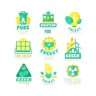 Insieme di logo di fonti di energia verde alternative