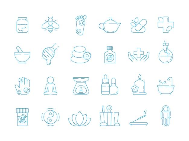 Icone di medicina alternativa. insieme lineare dell'icona di vettore di naturopatia tradizionale di cura di erbe della vitamina olistica