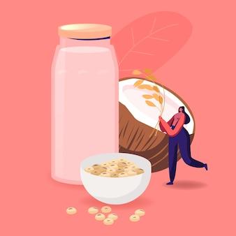 Bevanda alternativa senza lattosio, carattere vegano che beve latte senza latticini a base di cocco e fagioli di soia